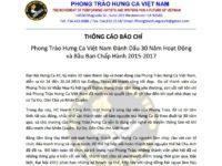 Thông Cáo Báo Chí,04.26.2015: PTHCVN Đánh Dấu 30 Năm Hoạt Động và Bầu Ban Chấp Hành 2015-2017