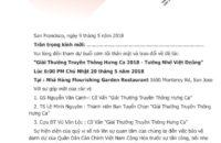 Thư Mời Gặp Gỡ Trao Đổi Về Giải Truyền Thông – Việt Dzũng